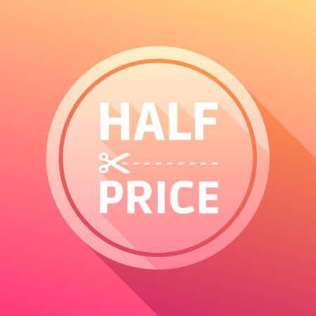 half: Half Price Label Illustration