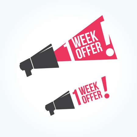1 week aanbod megafoon icoon Stockfoto - 56753194