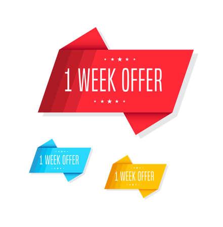 week: 1 Week Offer Tags Illustration