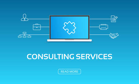 consulting services: Consulting Services Laptop & Icons