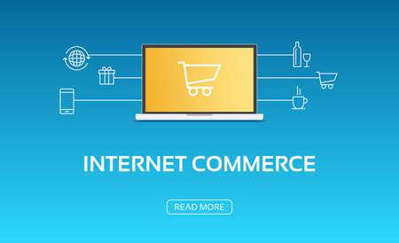 commerce: Internet Commerce Laptop & Icons