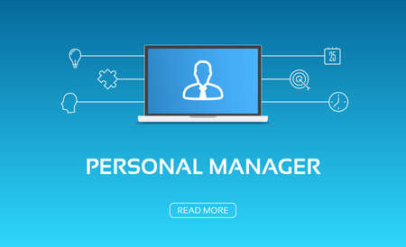 personal growth: Personal Manager Laptop & Icons