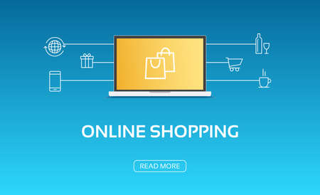 online: Online Shopping Laptop & Icons