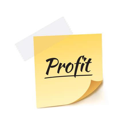stick note: Profit Stick Note Vector Illustration