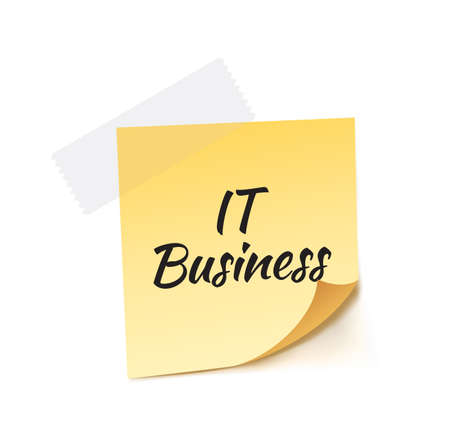 it business: IT Business Stick Note Vector Illustration