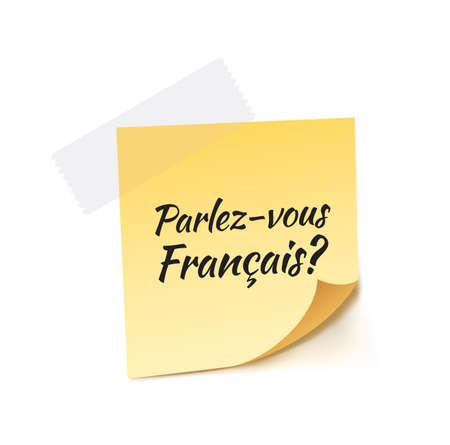 student travel: Do You Speak French Stick Note Vector Illustration Illustration