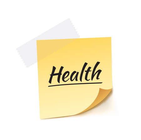 stick note: Health Stick Note Vector Illustration