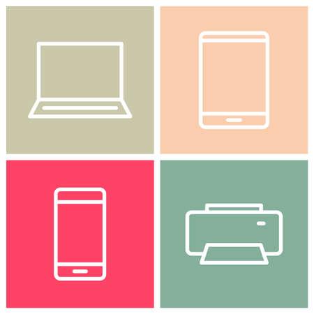 desktop printer: Laptop, Tablet, Phone & Printer Icons Illustration
