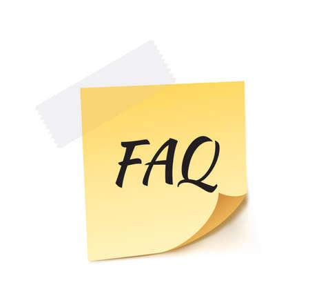 stick note: FAQ Stick Note Vector Illustration