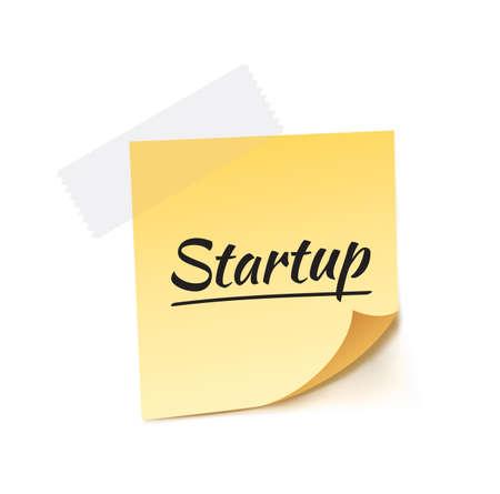 stick note: Startup Stick Note Vector Illustration