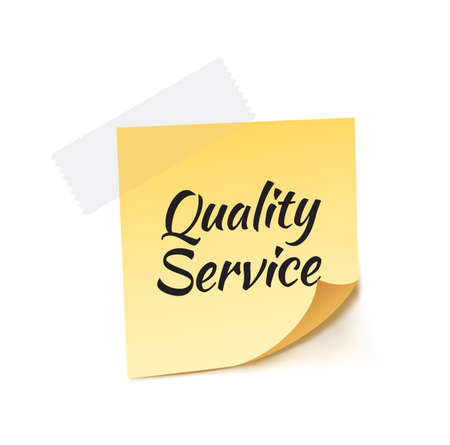 quality service: Quality Service Stick Note Vector Illustration Illustration