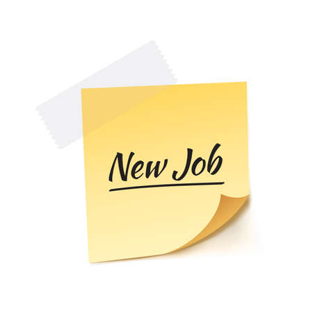 jobless: New Job Stick Note Vector Illustration Illustration