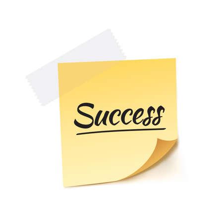 businessman jumping: Success Stick Note Vector Illustration Illustration