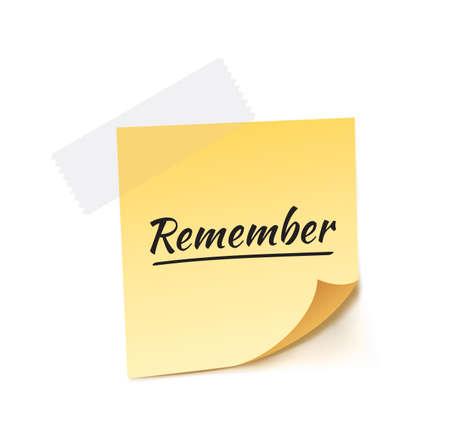 remember: Remember Stick Note Vector Illustration