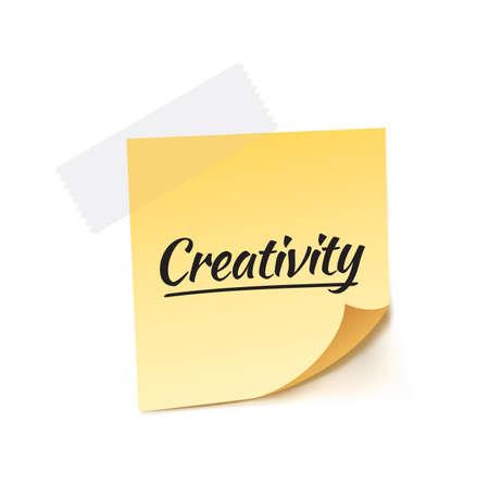 contemplate: Creativity Post It Vector Illustration