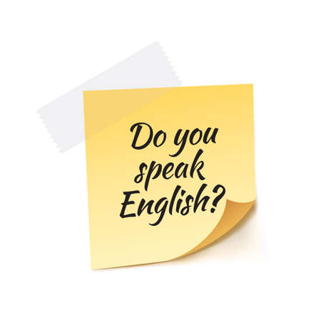 international students: Do You Speak English Stick Note Vector Illustration