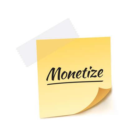 monet: Monetize Stick Note Vector Illustration