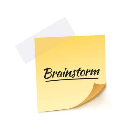 contemplate: Brainstorm Post It Vector Illustration
