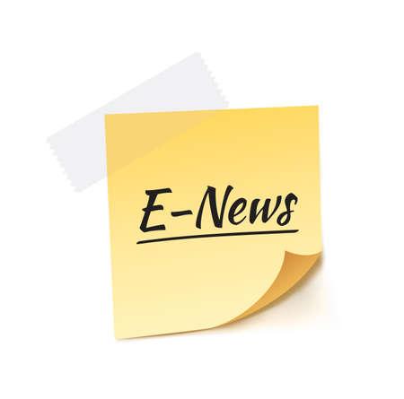 stick note: E-News Stick Note Vector Illustration
