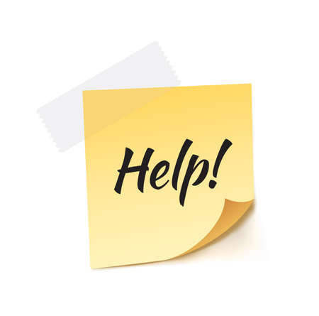 stick note: Help! Stick Note Vector Illustration