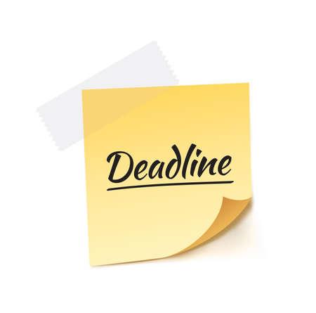stick note: Deadline Stick Note Vector Illustration