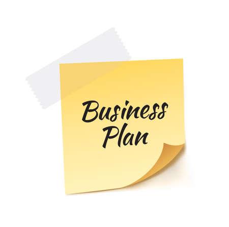 stick note: Business Plan Stick Note Vector Illustration
