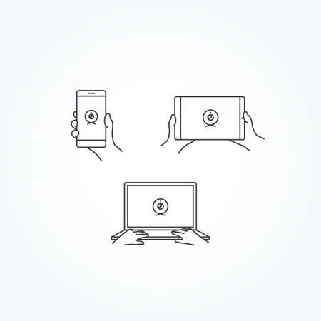 webcam: Webcam Icon on Phone, Tablet & Laptop