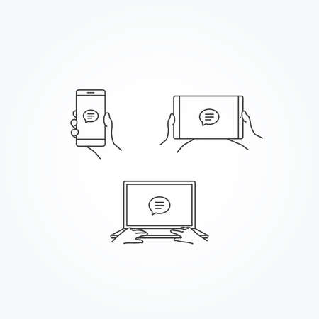 texting: Message Texting Icon on Phone, Tablet & Laptop