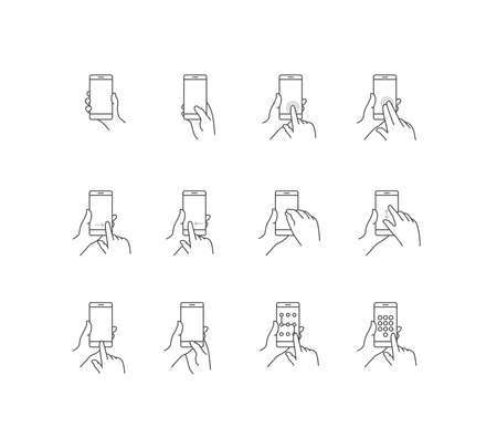 touch screen phone: Phone Touch Screen Gestures Icon Set Illustration