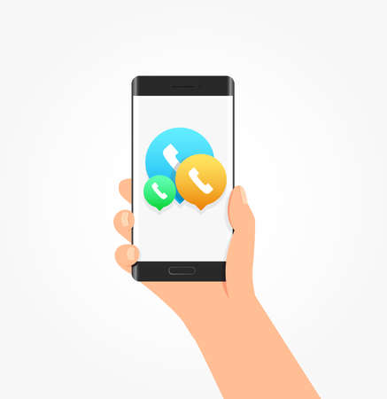 phone and call: Call Icon Bubbles Phone Vector Illustration