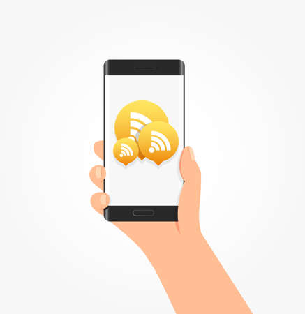 web feed: Subscribe Icon Bubbles Phone Vector Illustration Illustration