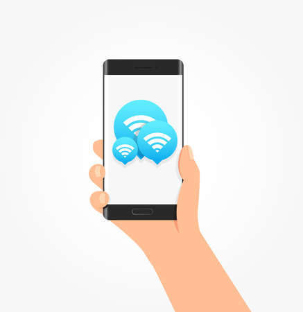 free hand: Wi-fi Connection Icon Bubbles Phone Vector Illustration