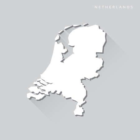 map of netherlands: Netherlands Long Shadow Vector Map