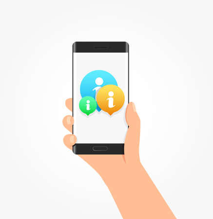 inform: Info Icon Bubbles Phone Vector Illustration