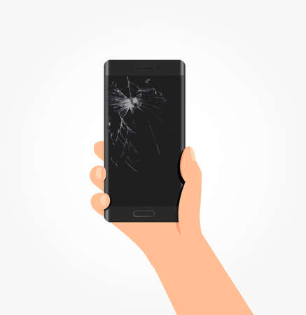 broken screen: Broken Screen Phone Vector Illustration