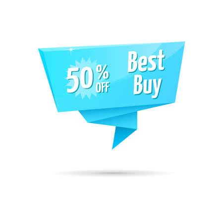 50: Best Buy 50% Off Blue Tag Illustration