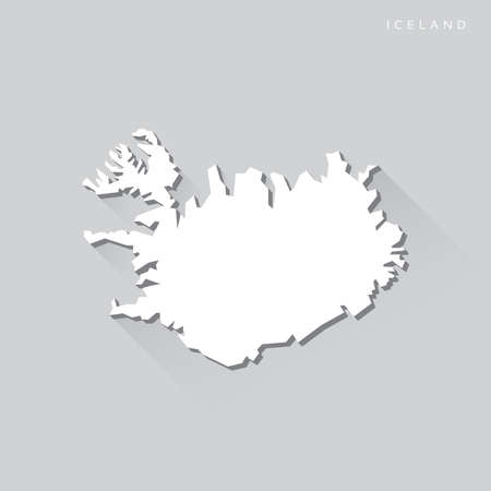 iceland: Iceland Long Shadow Vector Map