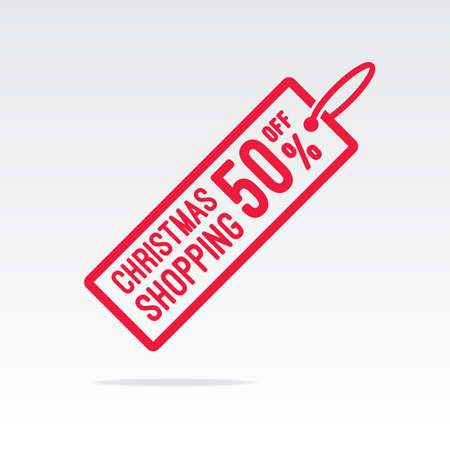 50  off: Christmas Shopping 50% Off Tag Illustration