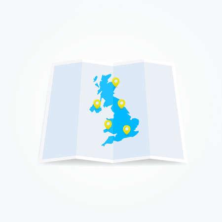 uk map: United Kingdom UK Map with Location Pins Illustration