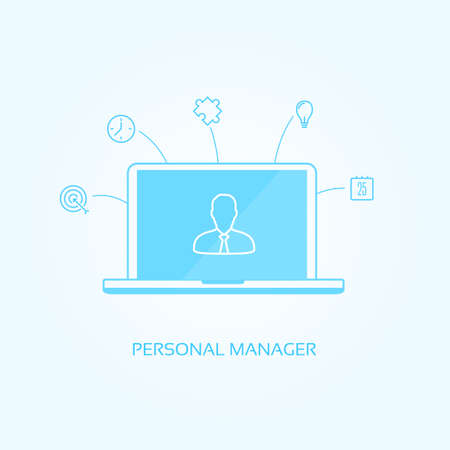manager: Personal Manager Icons Illustration