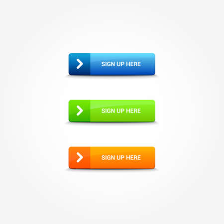 Sign Up Here Web Buttons Vectores