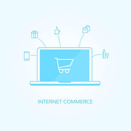e commerce icon: Internet Commerce Icons Illustration
