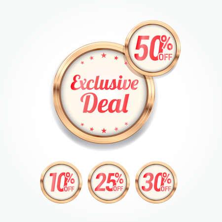 Exclusive Deal% di sconto Etichette Vettoriali