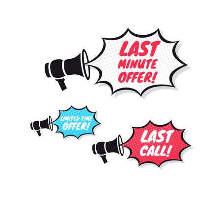 purchase book: Last Minute Offer, Limited Time Offer & Last Call Megaphone Icons Illustration