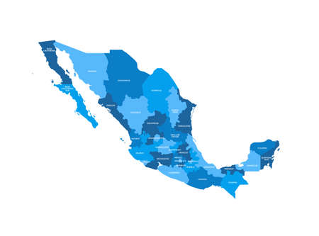 Mexico Regions Map Stock fotó - 70956420