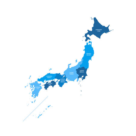 Japan Regions Map Vectores