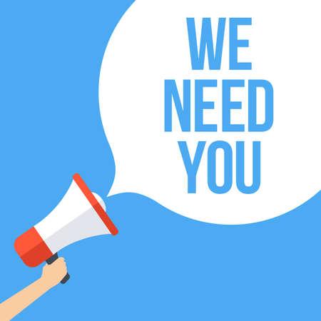 Wir brauchen dich Megaphon Banner