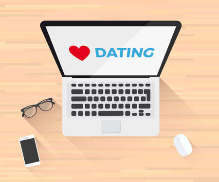 Dating Love Laptop Illustration