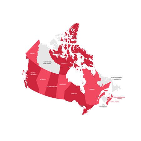 Canada regions map. Illustration