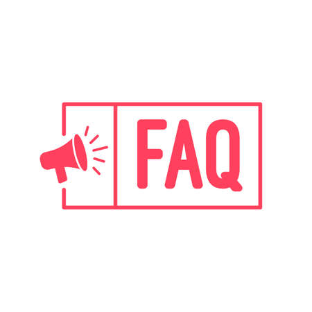 よくある質問 FAQ メガホン ラベル  イラスト・ベクター素材